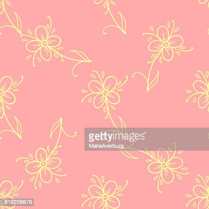 Flowers Doodles Seamless Pattern. Vector Illustration. Design Elements : Arte vetorial