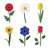 Flowers icons in flat style. Vector simple illustration of garden flowers.