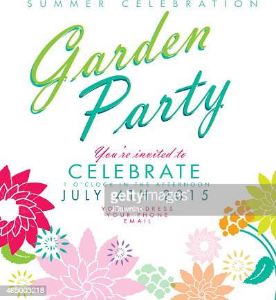 Flower Wreath On Dark Background Garden Party Invitation Design