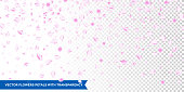 Flowers petals falling on vector transparent background. Wedding, Valentine or Women day pink floral blossoms flying in wind whirl backdrop