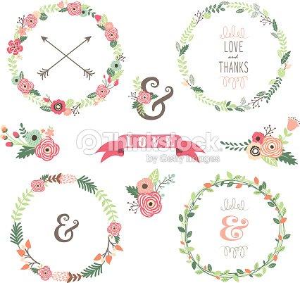 collection de couronne de fleurs illustration clipart vectoriel