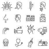 Flu icons set. ARI, thin line design. Respiratory disease, linear symbols collection. Symptoms and treatment of colds and flu, isolated vector illustration.
