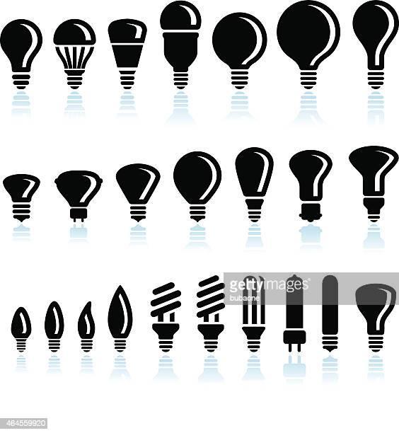 Fluoreszierend und LED Glühbirne Oberfläche Symbole auf weißem Hintergrund