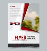 Flyer template. Design for a business, education, advertisement brochure, poster or pamphlet. Vector illustration. Red color.