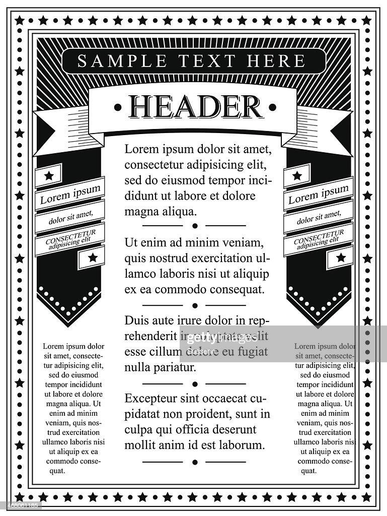 Flyer Template Monochrome : Vector Art