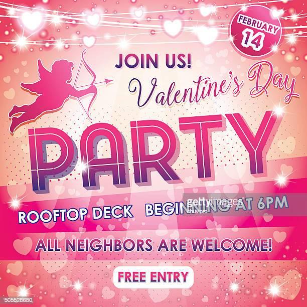 Flyer Valentinstag Nachbarn auf eine glitzernde Rosa Hintergrund