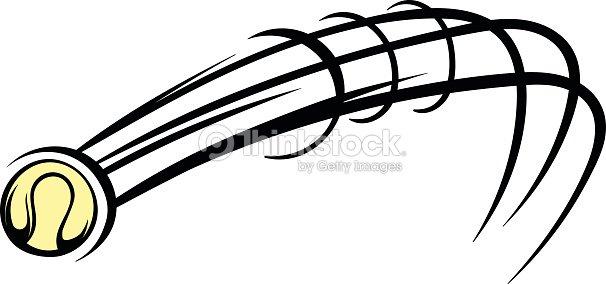 Flying baseball ball icon, icon cartoon