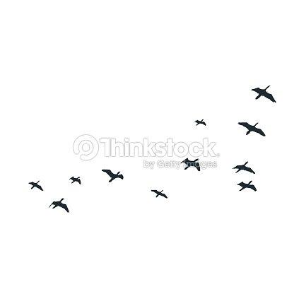 Vol silhouettes doiseaux sur fond blanc illustration vectorielle isol oiseau qui vole clipart - Jeux d oiseau qui vole ...