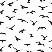 Flying birds seamless pattern. Freedom sign background. Animal wildlife