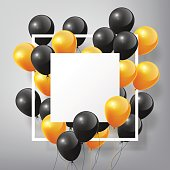 Flying Realistic Glossy black orange Balloons with square white blank and frame, Halloween concept on white background, vector illustration