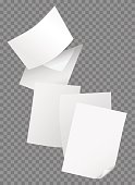 Flying blank papers isolated on transparent background vector illustration.