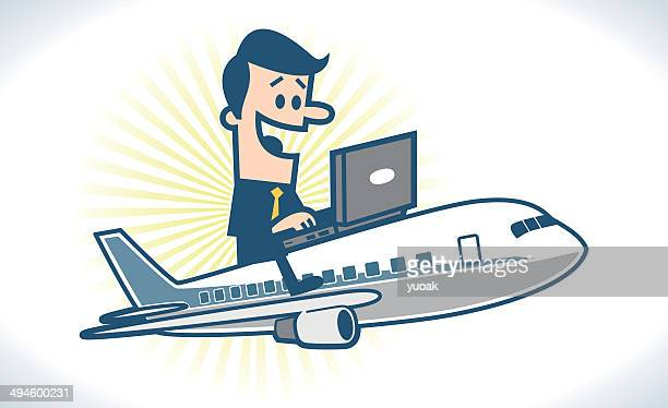Flying Businessman with laptop
