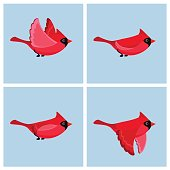 Vector illustration of cartoon flying cardinal animation sprite.