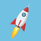 Flying cartoon rocket in flat style isolated on blue background. Vector illustration