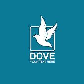icon of flying dove silhouette isolated on blue background