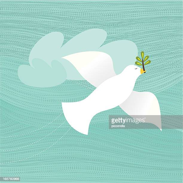 Flying Colombe avec une Branche d'olivier dans son bec