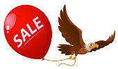 Flying eagle holds sale balloon. Cartoon styled vector illustration. Elements is grouped. On white background. No transparent objects.