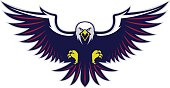 Clipart picture of a flying eagle cartoon mascot character