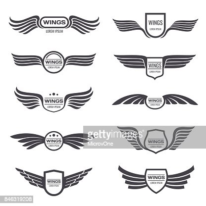 Flying eagle wings vector symbols set. Vintage winged emblems and labels : stock vector