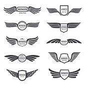 Flying eagle wings vector symbols set. Vintage winged emblems and labels. Illustration eagle vintage wings emblem