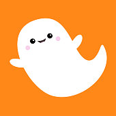Flying ghost spirit. Boo. Happy Halloween. Scary white ghosts. Cute cartoon spooky character. Smiling face, hands. Orange background Greeting card. Flat design. Vector