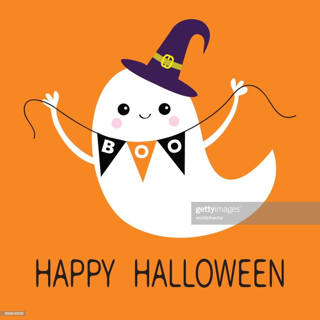 Exceptional Witch Hat. Happy Halloween. Scary White Ghosts. Cute Cartoon Spooky  Character. Smiling Face, Hands. Orange Background. Greeting Card. Flat  Design.