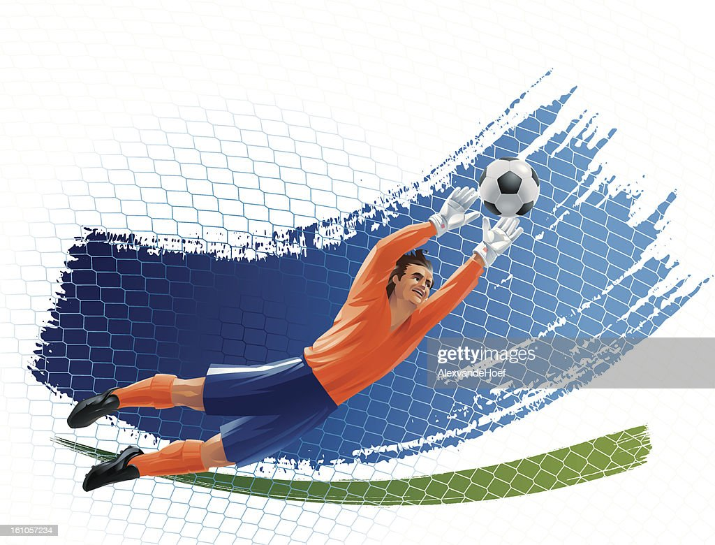 Flying Goalkeeper Stretching to the Ball : Vector Art