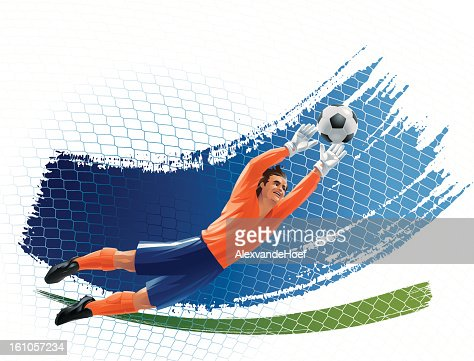 Flying Goalkeeper Stretching to the Ball : Arte vectorial