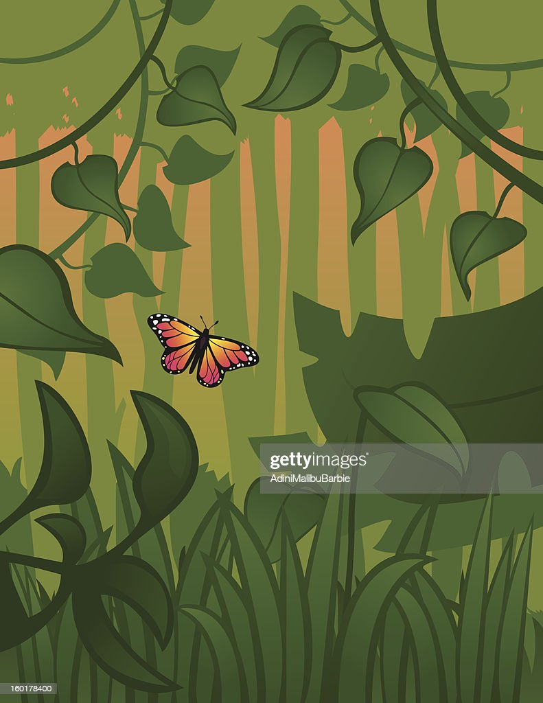Flying in the Forest : Vector Art