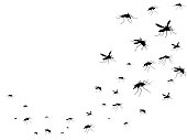 Flying mosquitoes black silhouette isolated. Insect flock in air. Viruses and diseases spreading medical vector concept. Insect mosquito black silhouette, gnat and pest illustration