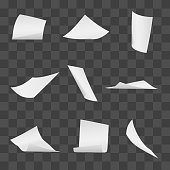 Flying office white paper pages on transparent background. Vector paper blank, sheet of page fly illustration