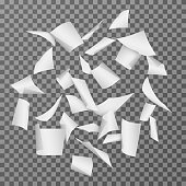 Flying paper document sheets. Falling 3d white blank page papers vector illustration isolated. Paper white page, document sheet empty blank