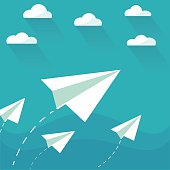 Flying paper planes on the blue sky with clouds. Career, growth or leadership concept. Travel, vacation, holidays or migration concept. Air mail, post letter, delivery service or e-mail vector concept