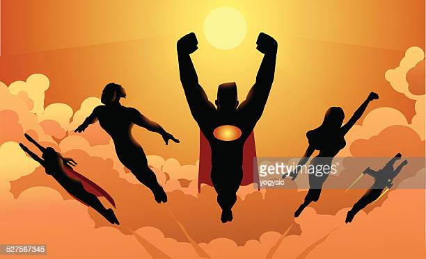 Flying Team of Superheroes Silhouette
