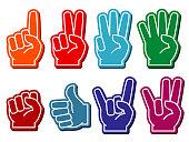 Foam fingers vector set. Gesture victory and souvenir accessory illustration