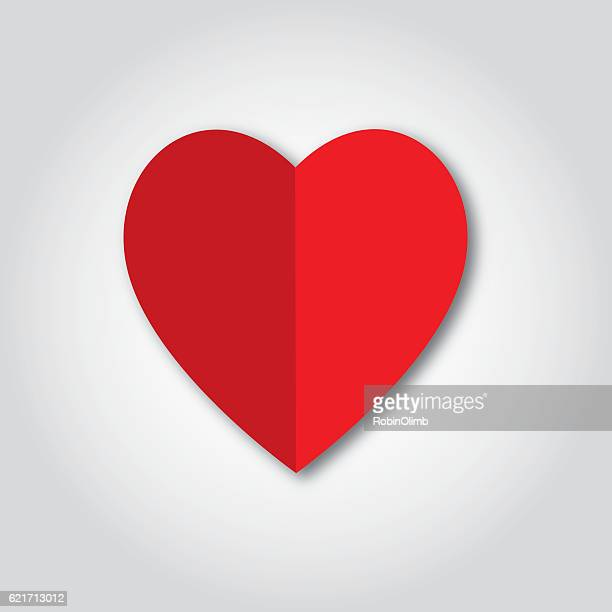 Folded Red Paper Heart Icon