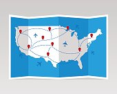 Folded travel map United States of America with airplanes. Vector illustration.