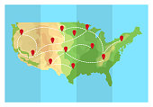 Folded travel map United States of America with airplanes and point markers.