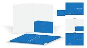 folder die cut mock up template vector