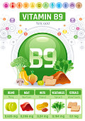 Folic acid Vitamin B9 rich food icons. Healthy eating flat icon set, text letter icon. Diet Infographic diagram flyer, liver, banana, onion. Table vector illustration background, human health benefits