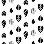 Folk art  seamless pattern with decorative leaves. Good for print. Scandinavian style. Vector illustration.