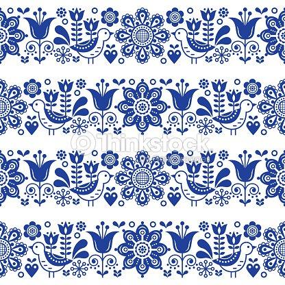 Folk Art Seamless Vector Floral Pattern Scandinavian Navy Blue