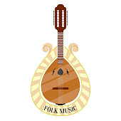 Folk music label with a portuguese guitar. Vector illustration design