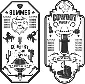 Folk rock party. Summer country music festival flyer template. Cowboys, banjo, old style microphone. Vector illustration.