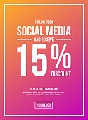 Colorful Shop Vector Sign For A Follow Clearance On Social Media. Get 15% Off For Following