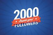 2000 followers card for celebrating many followers in social networks.
