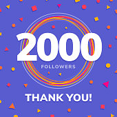 2000 followers, social sites post, greeting card vector illustration
