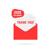 2000 followers thank you card. concept of dispatch, abstract ui, open envelope with paper, web information, sub, button. flat style trend modern graphic design element on white background