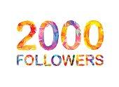 2000 (two thousand) followers. Triangular colorful inscription