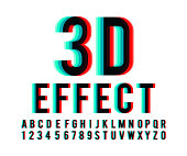 Font 3d effect in vector format